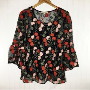 Solitaire Floral Embroidered Sheer Blouse w/ Tank